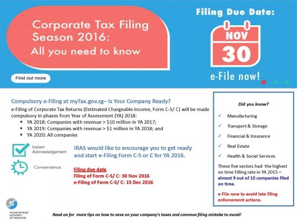 법인세(Corporate Income Tax) e-File 안내 ~2016년 12월 15일까지