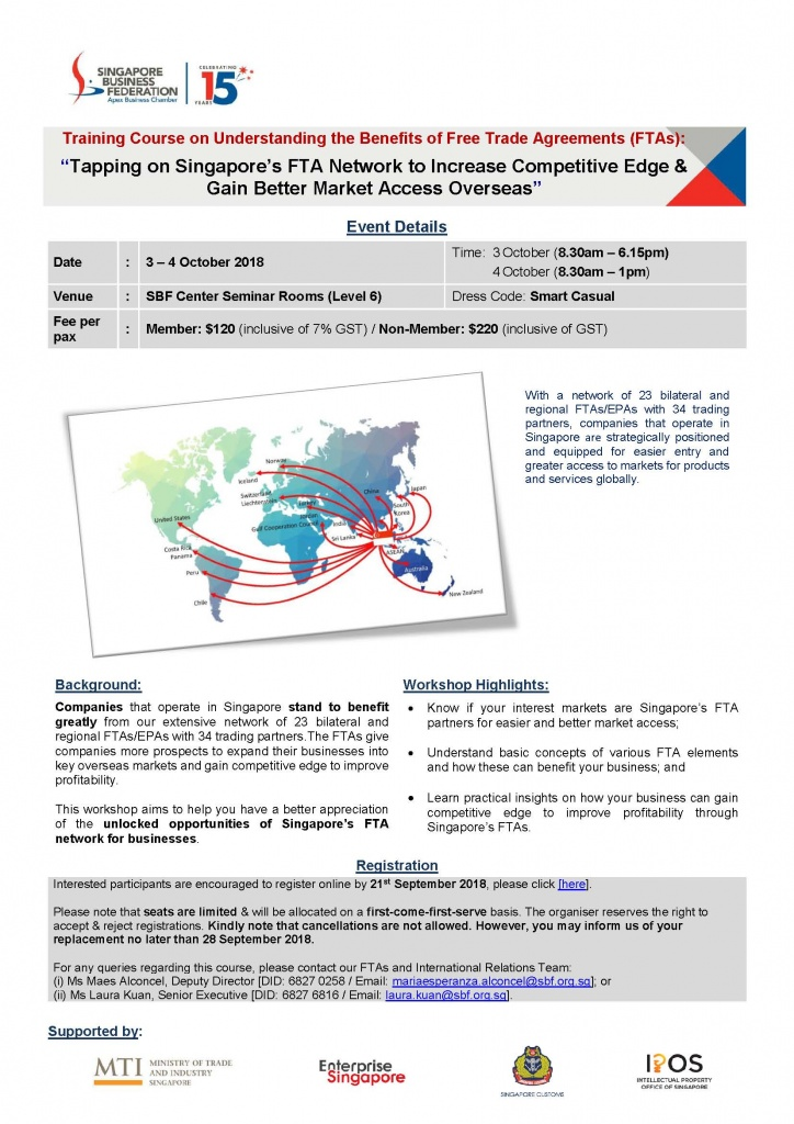 Invitation to the 2nd Training Course on Understanding the Benefits of Free Trade Agreements, 3 – 4 October 2018, SBF Center