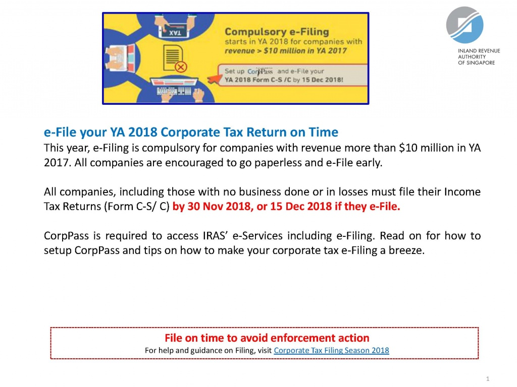 e-File your YA 2018 Corporate Tax Return on Time