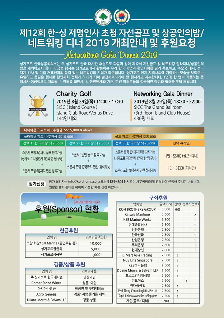 『12TH KOCHAM Challenge 2019! – Charity Golf / Networking Gala Dinner』개최 안내 및 후원 요청 / Sponsorship for 12TH KOCHAM Challenge 2019! – Charity Golf / Networking Gala Dinner