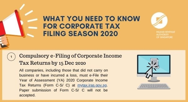 싱가포르 법인세 신고기간 ~2020. 12. 15까지 [IRAS Corporate Tax Updates] What You Need to Know for Corporate Tax Filing Season 2020